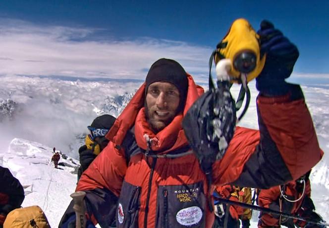 Blind adventurer Erik Weihenmayer shown at summit of Mount Everest. He will speak at Lafayette College's 180th Commencement in May 2015.