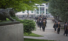 Students line up outside of Kirby Sports Center for Commencement 2014.