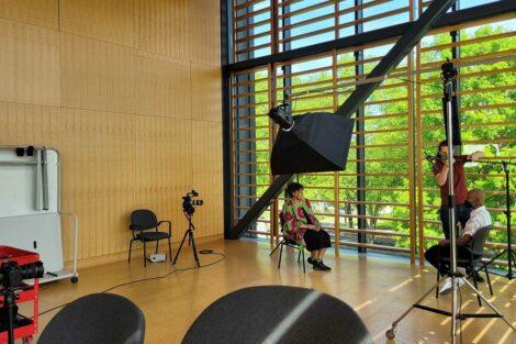 behind the scenes at a photo shoot with Tamara Carley