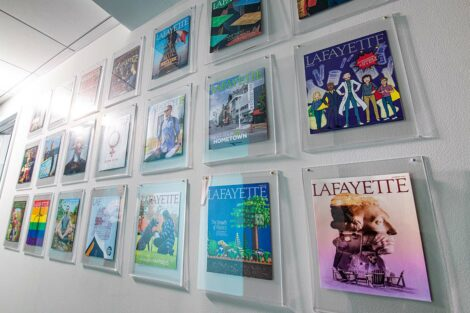 wall displaying Lafayette magazine covers in alpha